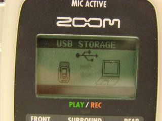 L'écran du Zoom indiquant la synchronisation établie en USB