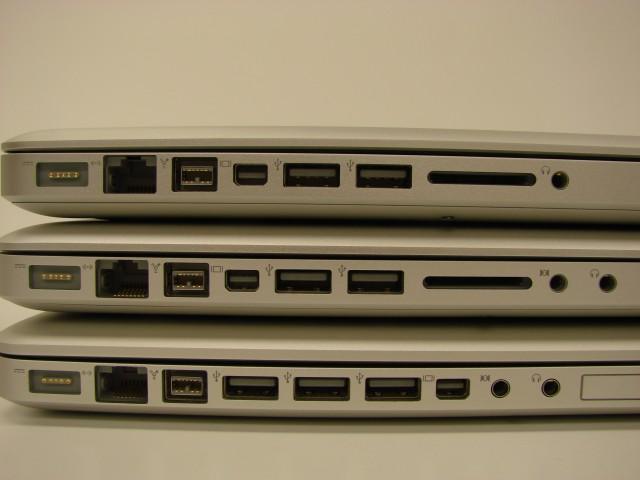 """Vue de la connectivité des 3 MacBook Pro : 13"""", 15"""", 17"""""""